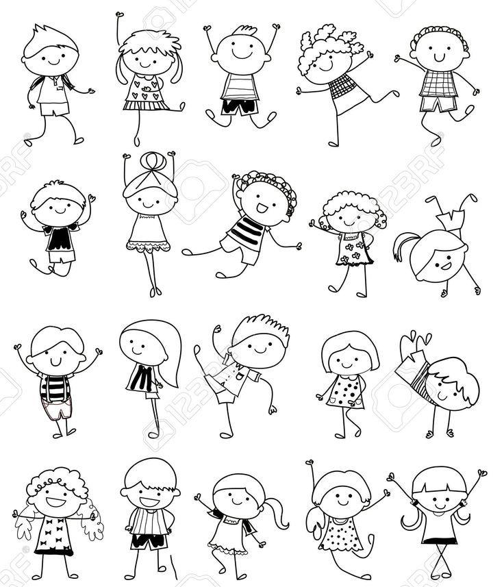 Zeichnungsskizze – Kindergruppe Lizenzfrei Nutzbare Vektorgrafiken, Clip Arts, Illustrationen