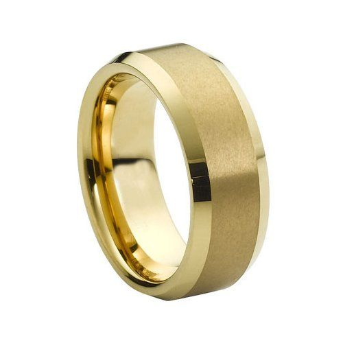 Tungsten Carbide Brush Polished Gold Plated Center & Shiny Beveled Edge 8mm Wedding Band Ring, 9 Size Rings - Tungsten http://www.amazon.com/dp/B00AM13GLW/ref=cm_sw_r_pi_dp_p1rzwb1QTSAX3