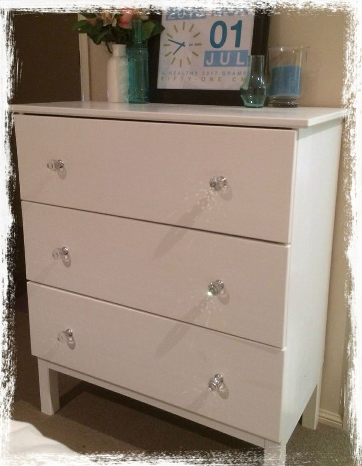 Ikea Tarva Hack Painted white with crystal drawer knobs