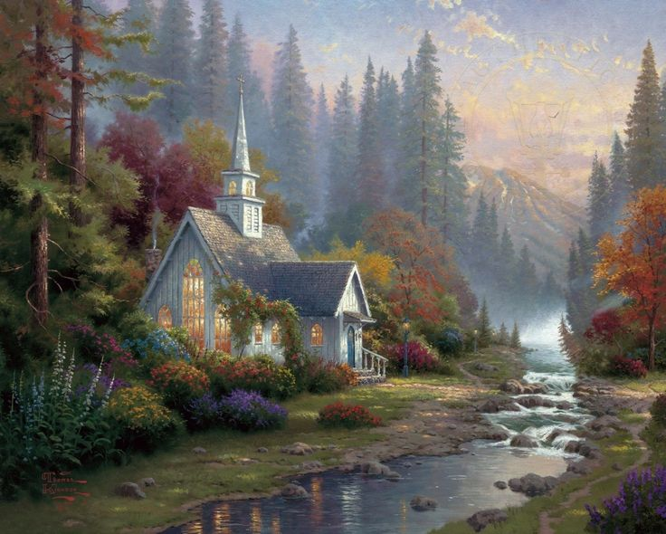 Image result for paintings of peaceful church