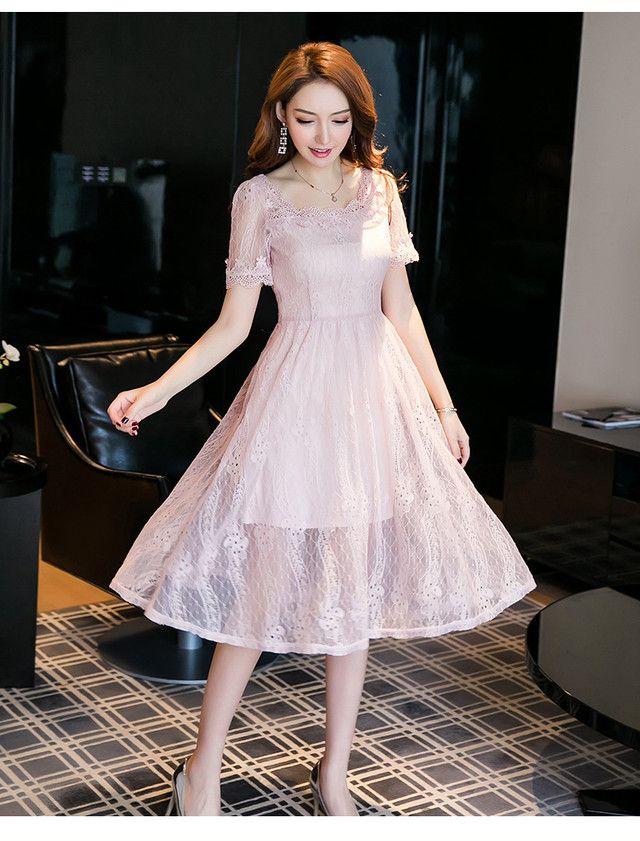 4340ac340447c S~5L☆出かけ パーティー 二次会 結婚式 気品 大人優雅 オールレース ドレス ワンピース a0497