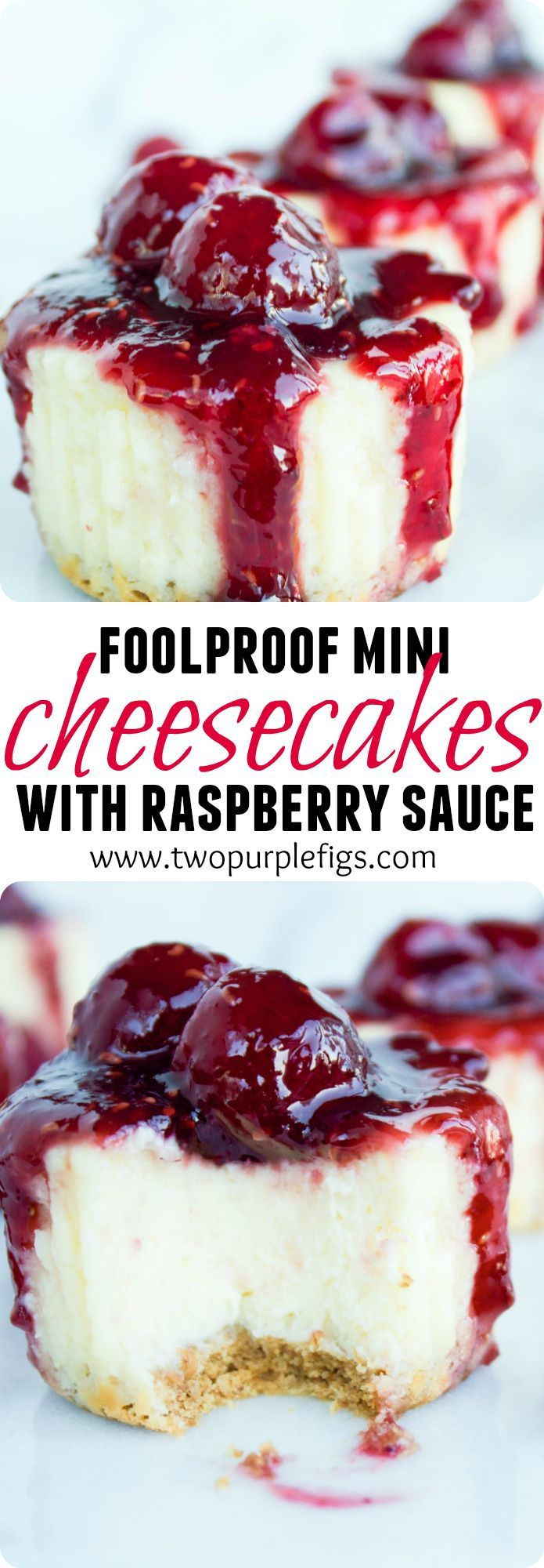 Mini Raspberry Cheesecakes. Get the recipe for a fool proof way to master the PERFECT cheesecake--no hassle no water bath no fuss! Easy straight forward and DIVINE cheesecake at your finger tips! A HIT recipe every single time! http://www.twopurplefigs.com