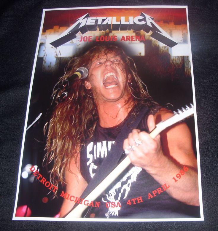Metallica concert poster Joe Louis Arena Detroit 1986 A3 size repro