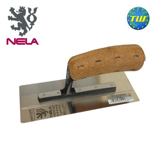 """NELA Trowels 8"""" x 3"""" SuperFLEX Midget Trowel NELA Trowels 8x3in SuperFLEX Midget Trowel with BiKo Cork Grip Handle 10852008BK is fitted with a hardened stainless spring steel blade for added flexibility and durability.  http://www.twwholesale.co.uk/product.php/section/10327/sn/NELA-SuperFLEX-Midget-8x3"""