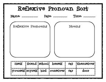 Free Reflexive Pronouns/ Regular Pronouns Word Sorts {Common Core}