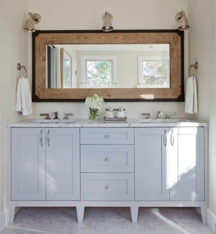 40 Amazing Lighting For Farmhouse Bathroom Ideas Decorating And Remodel 23 Bathroom Mirror Cabinet Bathroom Mirror Frame Bathroom