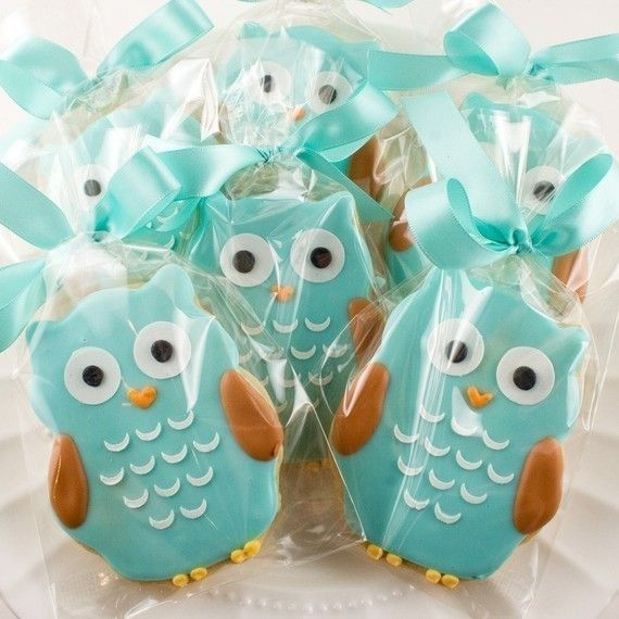 Owl Sugar Cookie Favors 12 favors bagged and bowed by TSCookies, $30.00