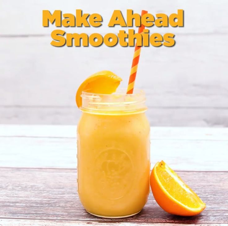 Make ahead smoothies in Mason jars - freeze, add milk, and blend right in the jar! Quick & easy!