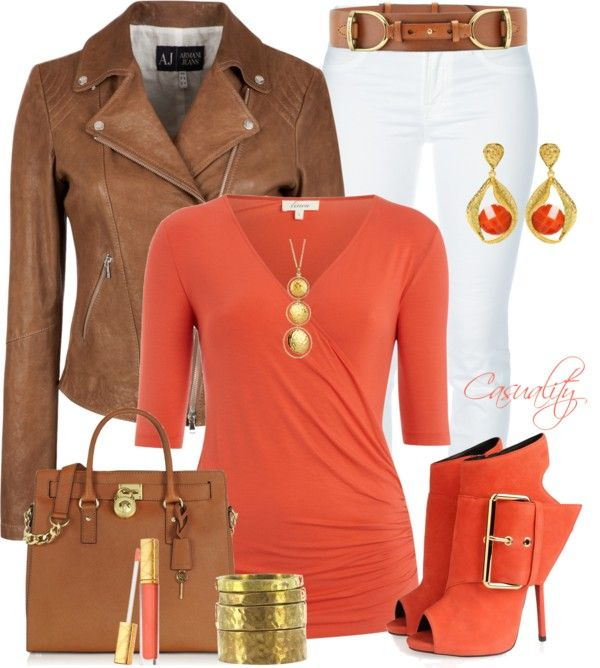 """""""Armani Leather Jacket & Mk Tote"""" by casuality on Polyvore"""