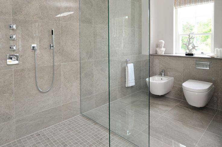 Minoli Tiles - Gotha - A luxurious floor and wall tile! Gotha is a stunning collection, suitable for bathrooms with Platinum colour polished version on the floor and the Matt Mosaic inside the shower - Floor Tiles: Gotha Platinum Lux 59 x 59 cm. / Wall Tiles: Gotha Platinum Lux 60 x 60 cm, Gotha Platinum Matt Mosaic 30 x 30 cm. - http://www.minoli.co.uk/tiles/grey-marble-effect-floor-tiles/ - http://www.thesurfacewithin.co.uk/range/gotha/platinum/