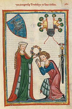 Esto es el código Manesse. Escrito entre 1305 y 1340 y es un manuscrito iluminado mediaval