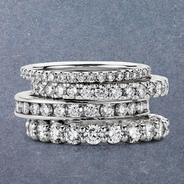 Perfect Platinum Rings from Blue Nile + A Discount! Love stackable rings and diamonds. Win, win!