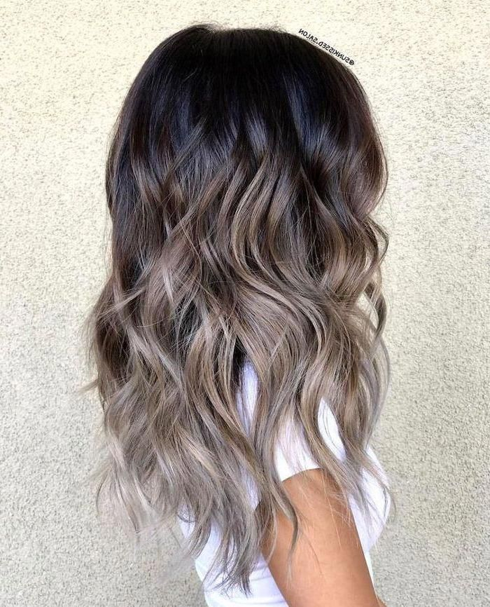 black-to-grey-curly-long-hair-blonde-ombre-white-background-white-shirt #ombrehair