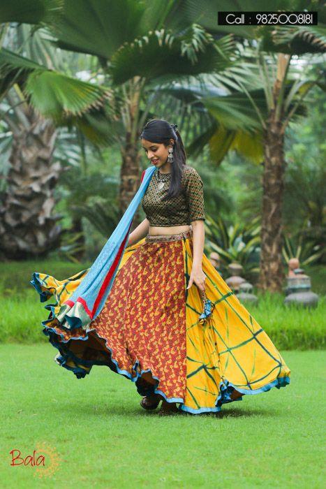 Yellow And Sky Blue Printed Cotton Lehenga Choli  #NavratriCollection