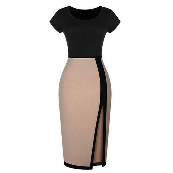 Trendy Short Sleeve Round Collar Slit Side Design Women's Dress, BEIGE, L in Dresses 2014 | DressLily.com