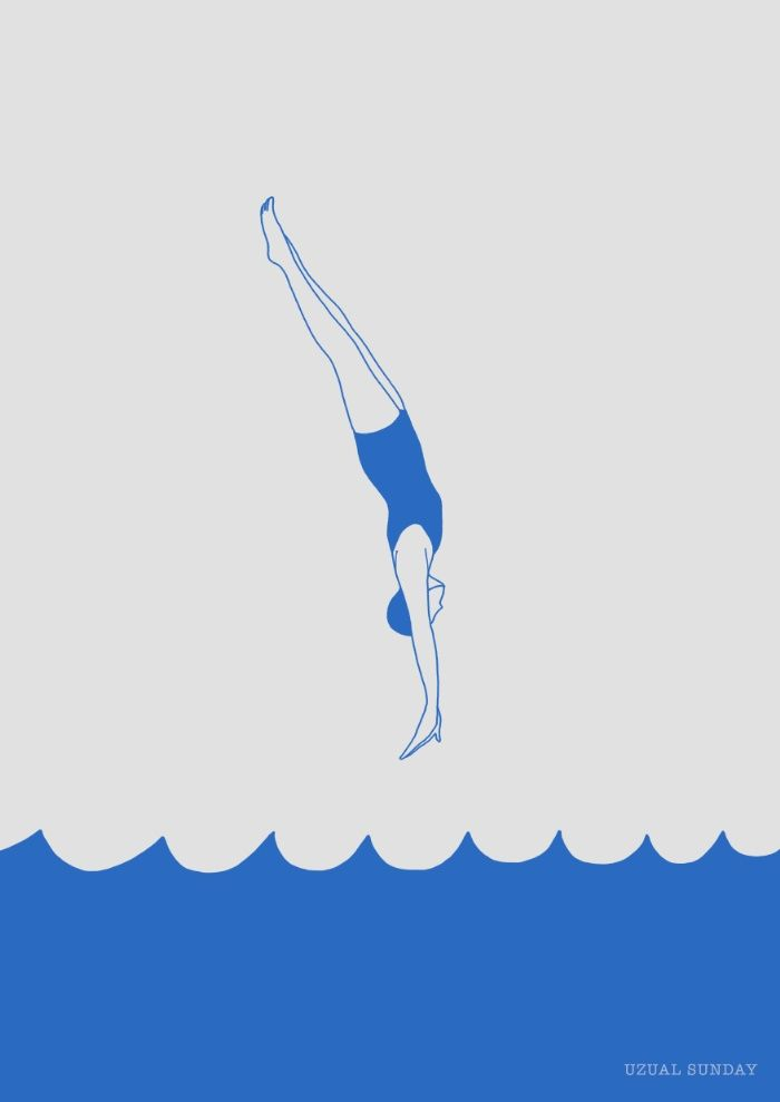 Diving into the Sea Art Print