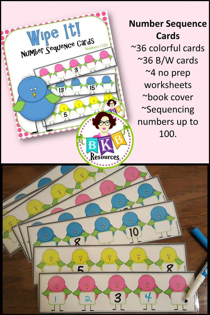 This Number Sequence Wipe It Card Set Contains 36 Colorful And 36 Black And White Sti Number Sequence Elementary Education Lesson Plans Kindergarten Resources