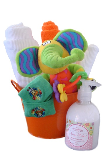 Baby Bucket Play    $65.00  1 Bonds Vest - Size 000  1 Newborn socks  1 Zany Zoo Playmate Teether  1 Cotton face washer  1 Playgro Squeek Waffle Wrap - 82cm x 82cm  1 Aroma Mother Lavender Moisturising Loction 300ml  1 Coloured Metal Bucket