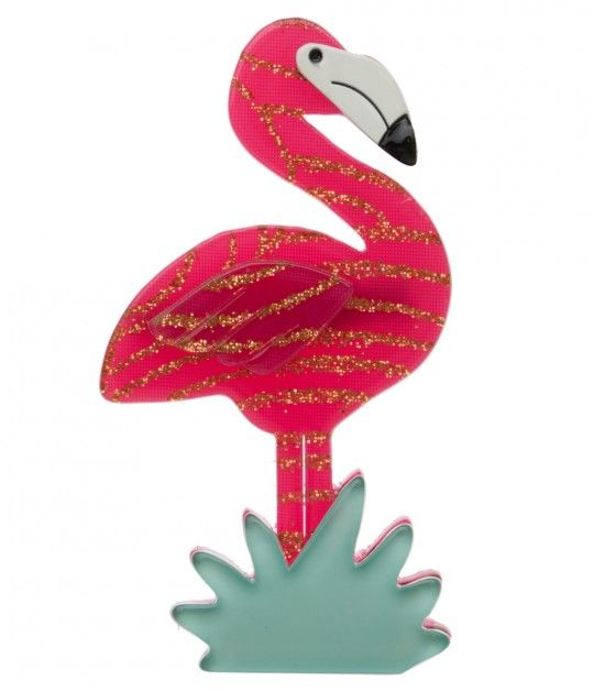 Erstwilder Fuchsia & Gold Flamboyant Flamingo Funk Resin Brooch Pin
