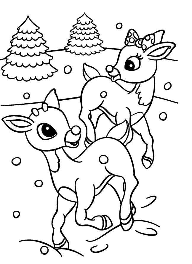 Rudolph And Clarice Coloring Page In 2020 Rudolph Coloring Pages Printable Christmas Coloring Pages Disney Coloring Pages