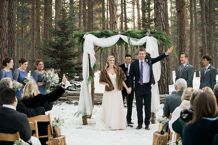 FivePine Lodge Wedding. Winter Wedding Ceremony. Sisters