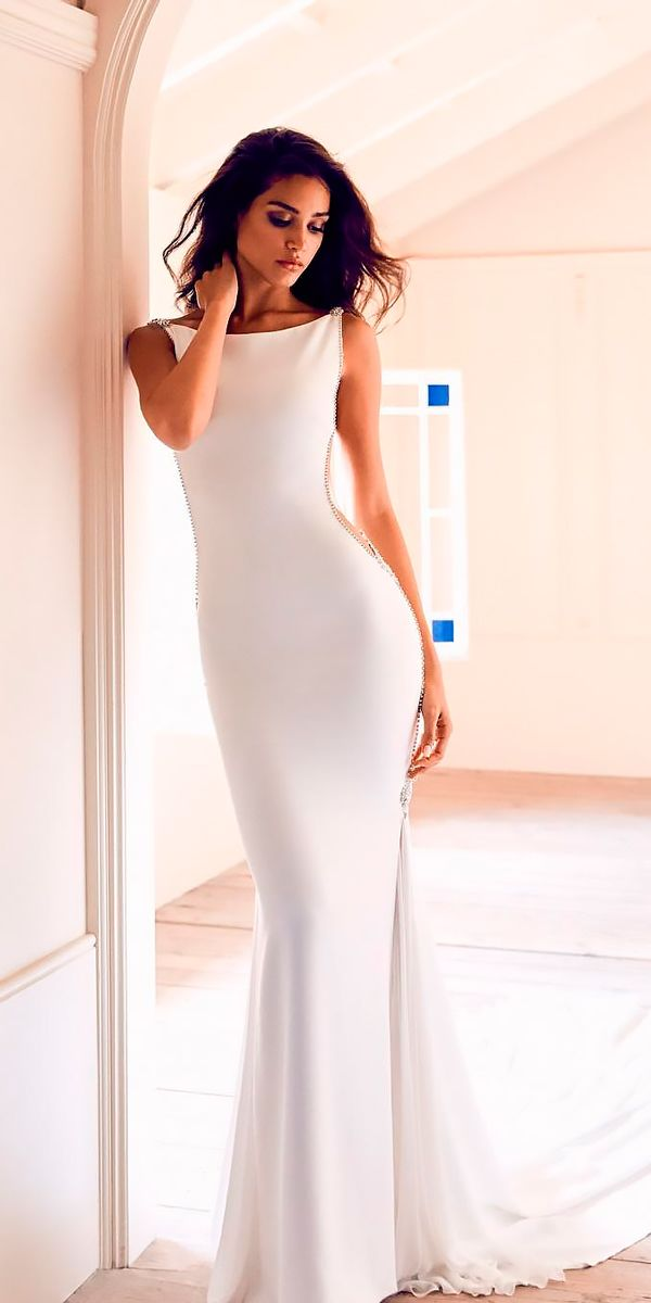 10 Best Wedding Dress Designers For 2017 ❤ wedding dress designers sheath simple bateau neckline sleeveless pronovias ❤ See more: http://www.weddingforward.com/wedding-dress-designers/ #wedding #bride