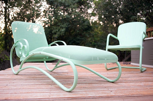 Had this vintage metal patio furniture powder coated in mint. Very happy with the results.