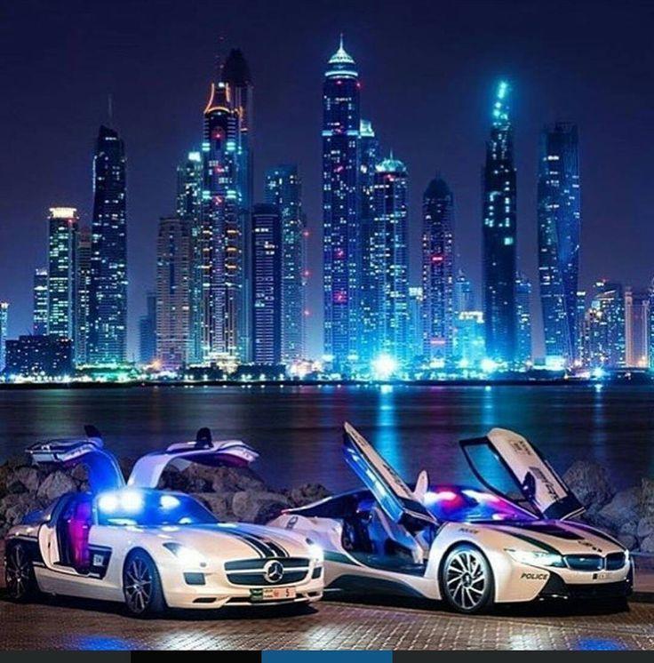 Two Of Dubai's Police Cars Mercedes SLS AMG & BMW I8 Tag A