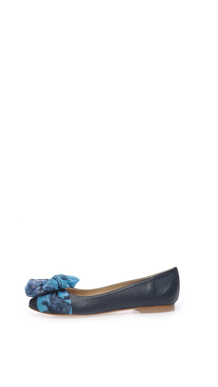 Hego's Nappa ballet flats, 1 cm heel, bow detail, leather sole