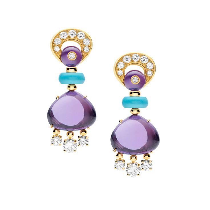Italian Finest Jewelry Earrings for Women, Pink, 18 Kt Yellow Gold, 2017, One Size