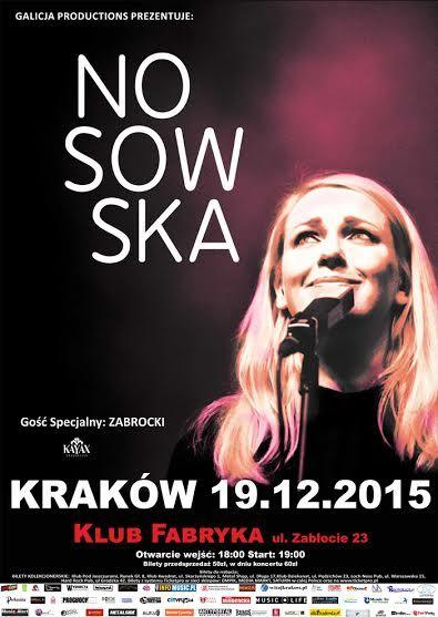 Relacja z krakowskiego koncertu Katarzyny Nosowskiej tutaj: http://heavy-metal-music-and-more.blogspot.com/2015/12/nosowska-zagraa-koncert-w-krakowie.html#more