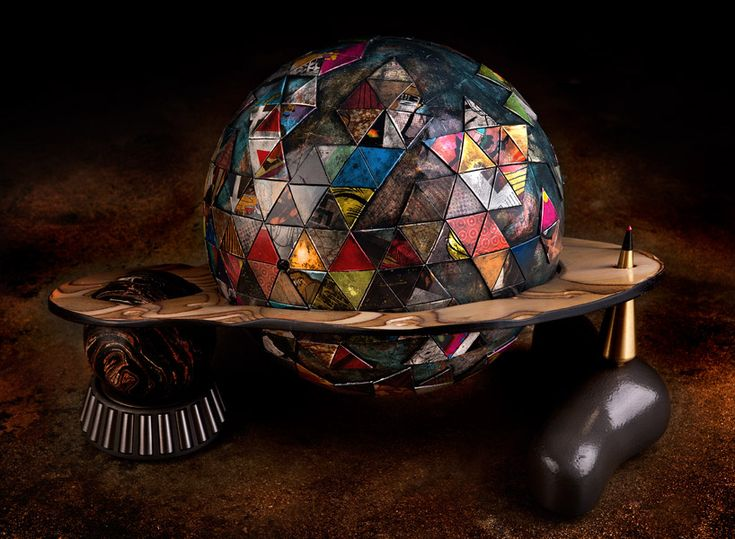 world 24  sculpted plywood, die cut laminated paperboard, 5-pin bowling ball, stainless steel gear chase, brass plumbob  photograph © paul body