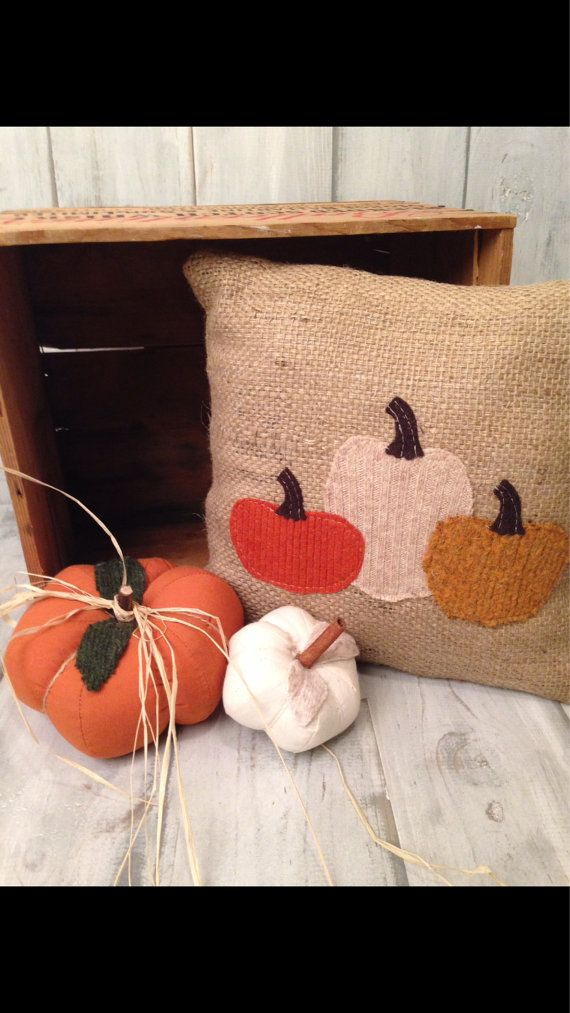 Rustic pumpkin pillow burlap fall halloween by thelittlegreenbean