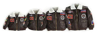 UP AND AWAY CHILDREN/TODDLER BROWN 9-PATCH A-2 BOMBER JACKET BRAND NEW