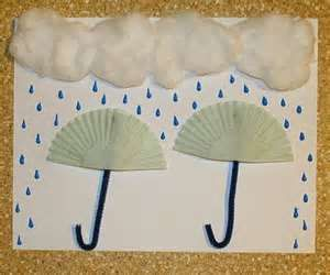 Precipitation craft for pre-schoolers. This activity is an extension of the children's learning. It also allows the children to be creative and manipulate their fine motor skills, as they cut and glue on their design.