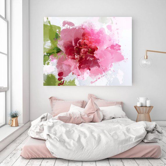 Sparkle bright. Floral Painting, Pink Abstract Art, Wall Decor, Abstract Colorful Contemporary Canvas Art Print up to 72″ by Irena Orlov