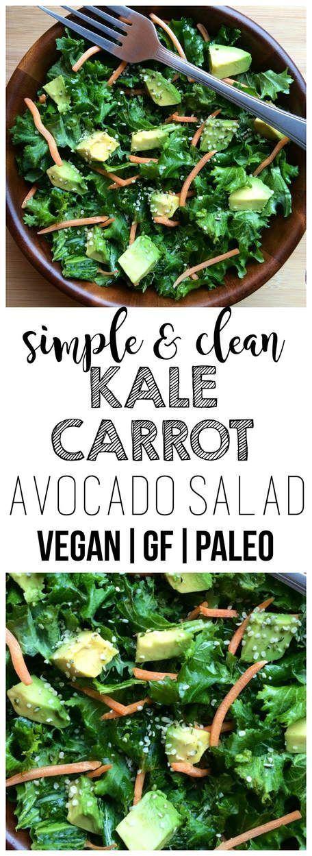 Simple Kale, Carrot & Avocado Salad (Vegan, Gluten-Free, Paleo)