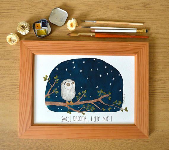 Albert  A4 PRINT the owl who loves gazing the stars #etsyuk #etsy #childrendesign #kidsillustration #owlillustration #nursery #nurserydecor #watercolour