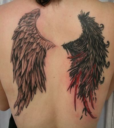 I've always loved this idea. One angelic wing and one crippled dark wing. Good VS evil, etc.
