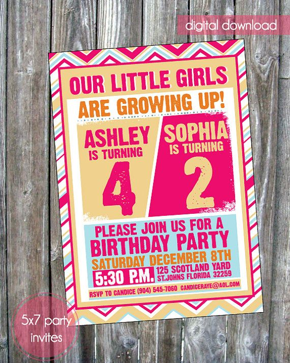 Little Girls Joint Birthday Party Invite - Digital Download via Etsy