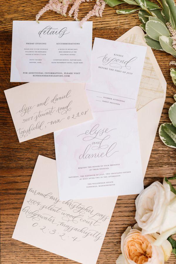 information on wedding invitation examples%0A Blush   Metallic Wedding Inspiration Shoot at Willowdale Estate