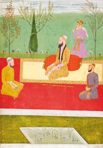 LOT SOLD. 7,500 GBP DETAILS & CATALOGUING A prince with attendants, India, Deccan, circa 1670 gouache heightened with gold on paper, laid down on stout paper, borders outlined in colours and gold, margin with scrolling foliate motif in gold painting: 32.6 by 22.8cm. leaf: 37 by 26.9cm. CATALOGUE NOTE This Muslim nobleman, though unidentified, is representative of the new class of rulers who obtained a level of independence after the conquests of the Deccan by the Mughal Emperor Aurangzeb....