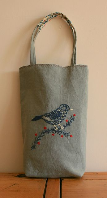 Embroidered bird bag-stuff like this reminds me of my grandma
