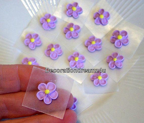"12 - 1/2"" Sugar Royal Icing Edible Flowers Cake Decoration on Etsy, $5.95"