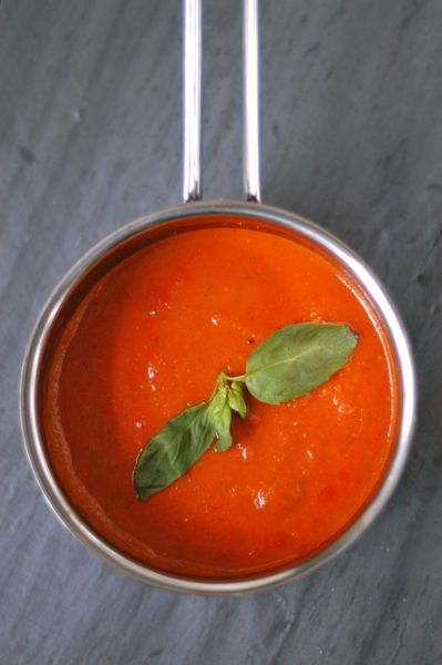 """5 Ingredient Vegan Tomato-Basil Soup. """"This is one of those recipes that tastes waaaay more expensive than it is. I've made this twice. I use whatever canned tomatoes I have one hand (if not crushed, I blend them myself). I've only ever used fresh basil, but you could probably get away with dried basil. One day I'd love to roast my own fresh tomatoes and make this. Rating: 9.5/10"""""""