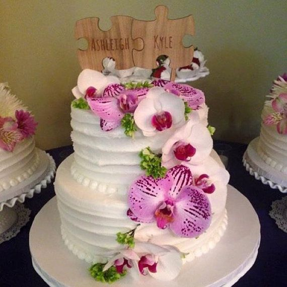 Puzzle Cake Topper Rustic Wedding Cake by CorkCountryCottage