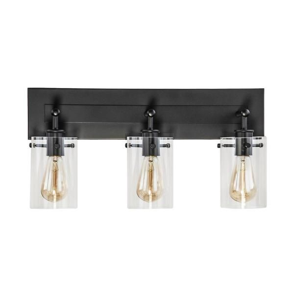 Dsi Lighting Brooklyn 21 In 3 Light Espresso Vanity Light With Clear Glass Shades Ds18557 The Home Depot In 2020 Espresso Vanity Vanity Lighting Rustic Bathroom Lighting