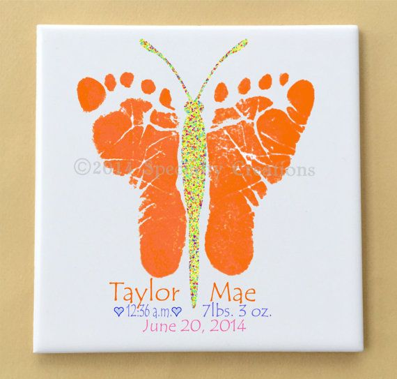 Butterfly Footprints Ceramic Tile Plaque  by SpecialtyCreations4U