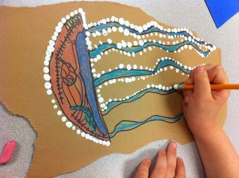 Elements of art: Texture, Shape.  Aboriginal bark paintings