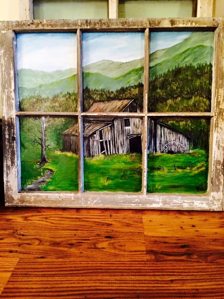Regenia Ford - Appalachian Americans Facebook Group  Antique Window I painted an old barn scene on the glass. Love them old barns.